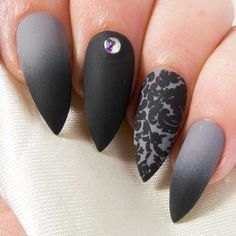 These gorgeous gothic nails feature a black and grey ombre, damask-style floral print, and a single AB Swarovski crystal, for a sultry and glamorous look. - Sealed with 2 coats of gel top coat for excellent durability - Choice of nail glue or sticky tabs - Prep wipe, mini file and cuticle pusher also included - Available in nine shapes (stiletto is the one shown in the photos) SIZING INFORMATION Standard sets of 10 nails come in five different size options, from XS to XL. You can find a s...