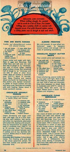 36 Christmas cookie recipes children will love Pink & White Fancies, Chocolate Coconut Cookies, Almond Frosting, Chocolate Peanut Butter Drops, Chocolate Fudge Meringues Retro Recipes, Old Recipes, Vintage Recipes, Cookbook Recipes, Vintage Food, 1950s Recipes, Recipies, Chocolate Coconut Cookies, Chocolate Fudge
