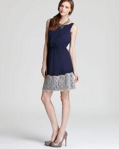 Love Lace!  Aqua Cinch Waist Dress - with Lace Applique | Bloomingdale's