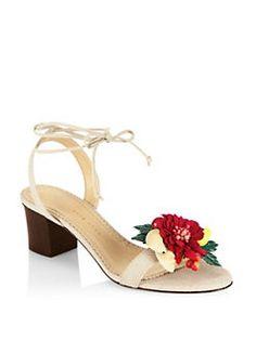a45c05795bda Charlotte Olympia - Fashion Tropical Tara Block Heel Sandals Grey Block  Heel Sandals, Grey Sandals