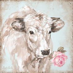 Laurel Foundry Modern Farmhouse French Farmhouse Series: Cow with Rose II Painting Print on Wrapped Canvas
