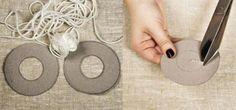 Comment faire un pompon, fil de laine, cercles en carton