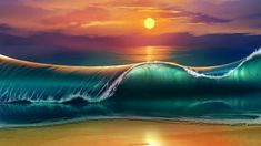 Sea wave during daytime illustration art sunset beach waves - Android, iPhone, Desktop HD Wallpaper - Sunrise Wallpaper, Waves Wallpaper, Beach Wallpaper, Wallpaper Art, Superman Wallpaper, Landscape Wallpaper, Mobile Wallpaper, Iphone Wallpaper, No Wave