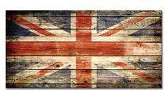 Cuadro moderno de la bandera inglesa sobre madera. Realizada por Paul Robert.