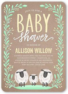 Baby Shower Invitation: Laurel Arrival, Rounded Corners, Beige