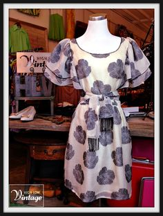 Vintage Silk Ivory Gray Floral Print Dress FREE by HighLowVintage