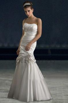 Cheap Strapless Elegant Mermaid Wedding Dress