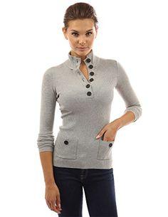 PattyBoutik Women s V Neck Button Ribbed Sweater (Light Heather Gray S)   PattyBoutik Stand Collar V Neck Button Pockets Ribbed Long Sleeve Knit  Sweater. 93e801176