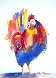 Bring gallery-worthy style to your home décor with this vibrant wall art, perfect above your mantel or beside a picture window. Watercolor Print, Watercolor Paintings, Original Paintings, Painting Art, Triad Color Scheme, Rooster Art, Rooster Painting, Chicken Art, Galo