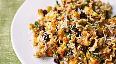 This meatless pasta dish has raisins and red pepper flakes. Sounds interesting.