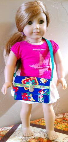 "ETSY sale American Girl 18"" Doll School Messenger Tote Bag Purse Accessory. $7.00, via Etsy."