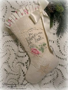 Home is where the Heart is pink rose stocking