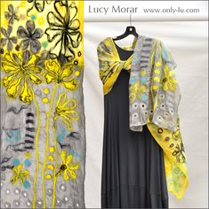 Shining Beauty / Nuno Felt Art Scarf by Lucy Morar