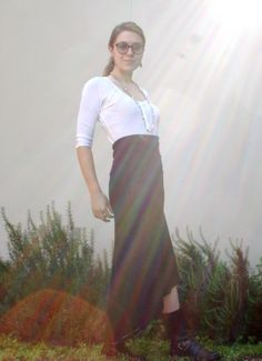 Shirt: Annie Henley, Alternative Apparel $21 (sale). Skirt: Dawson Skirt, Alt App, $22 (sale). Boots: Ralph Lauren motorcycle boots, Savers, $20. Jewelry: 70s steel necklace from mom. Glasses: American Apparel, dead stock, $55. Notes: Not sure what that ray of sunshine beaming over my head is. My guess is God was happy I finally put on a bra. What I'm Doing Today: Finding ways to keep feral cats from using my garden as their litter box (had to get dressed up for this)