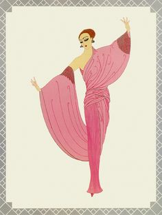 In the evening - erte art nouveau, illustrators, new art, illustrator, art Art Vintage, Mode Vintage, Moda Art Deco, Art Nouveau, Erte Art, Romain De Tirtoff, Art Deco Artists, Art Deco Stil, Estilo Art Deco