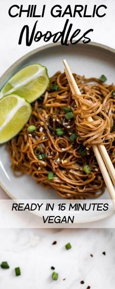 Spicy chili garlic noodles are ready in 15 minutes! A quick and easy vegan dinner. Tasty buckwheat soba noodles tossed in a delicious hoisin sriracha garlic soy sauce. #veganrecipes #sobanoodles #spicynoodles #vegan
