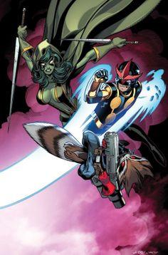 Nova Vs. Gamora & Rocket Raccoon by Ed McGuinness