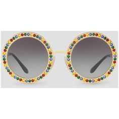 Dolce & Gabbana Round Metal Sunglasses With Crystal Details (21,350 DOP) ❤ liked on Polyvore featuring accessories, eyewear, sunglasses, gold, round sunglasses, rounded sunglasses, dolce gabbana glasses, round eyewear and round metal glasses