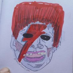 "That time Frankie was Ziggy and he  ""took it all too far But boy could he play guitar."" #davidbowie #grimcartoons #ziggystardust #ziggy #sketch #frankieoftheday #frankie #frankenstein #illustration"