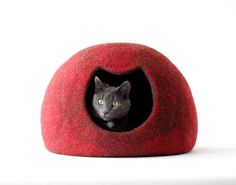 Cat bed red cat cave felted wool cat house red brown cat