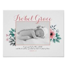 #photo - #Floral Baby Photo Frame with Bible Verse Poster