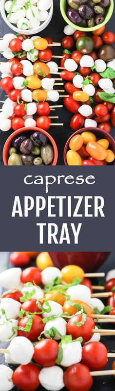 This caprese inspired appetizer tray is colorful, healthy, and very easy to assemble. Based on the classic flavor combinations, it will for sure please even the picky guests. #appetizer #vegetarian #healthy #recipe #cleaneating #realfood #olives #caprese