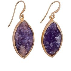 Magpie Rose - Purple Raw Druzy Earrings ($78) ❤ liked on Polyvore featuring jewelry, purple jewelry, rock jewelry, gold filled jewellery, druzy jewelry and drusy jewelry