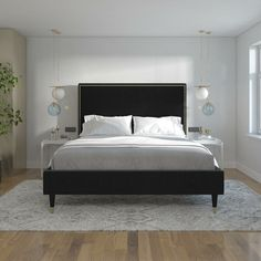 Audrey Upholstered Low Profile Platform Bed In 2020 Upholstered Platform Bed Upholstered Bed Decor Velvet Upholstered Bed