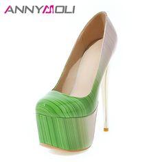 40751c8fa4ac3 ANNYMOLI Women Pumps Extreme High Heels Platform Women Shoes 16 cm Heel  Shallow Stiletto Sexy Ladies