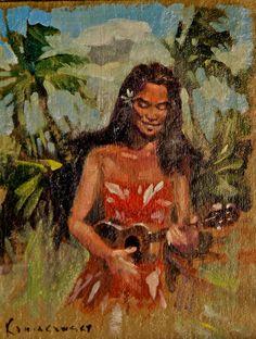 Jammin Wahine Painting by Artist Wade Koniakowksy