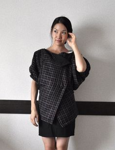 BLACK FRIDAY SALE Black Plaid Bubble/Balloon Sleeve Jacket/Coat - Black Gray and Brown. $100.00, via Etsy.