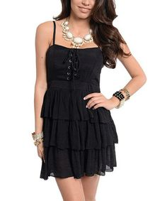 Another great find on #zulily! Black Tier Lace-Up Dress #zulilyfinds