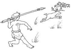 Resultado de imagen de dibujo choza prehistorica para colorear