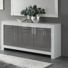 Lorenz Sideboard In White And Grey High Gloss With 3 Doors will make lovely addition in your home decor Features: Sideboard Dekor, Hallway Sideboard, Dining Room Sideboard, White Sideboard, Sideboard Furniture, Modern Sideboard, Sideboard Ideas, Furniture Storage, White Gloss Bedroom Furniture