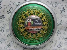 Compact Mirror - Gift For Teacher - My Teacher Rules  - Teacher Gift - Green Compact Mirror - Comes With Protective Pouch