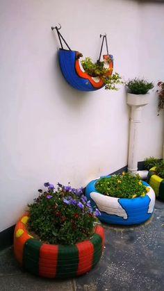 Diy Garden Decor, Garden Crafts, Garden Projects, Pool Landscape Design, Garden Design, Front Garden Landscape, Tire Craft, Garden Ideas To Make, Diy Cardboard Furniture