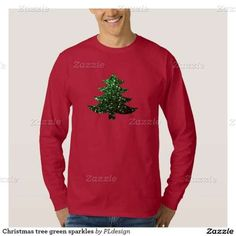 Christmas tree green sparkles Red Man's Long Sleeve Shirt by #PLdesign #ChristmasSparkles #SparklesGift **you can choose between many different styles (toddlers, kids, ladies and men)**