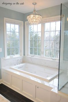 Master Bath - love the colors and chandelier