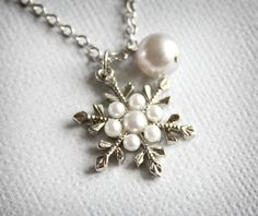 pearl snowflake | Snowflake and Pearl Necklace.... | Jewelry