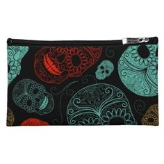 Day of the Dead Mosaic Art Red & Blue Makeup Bags