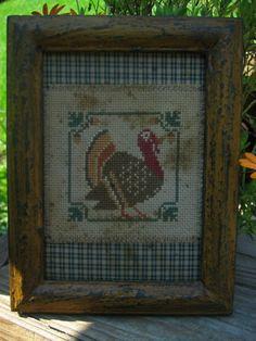 Primitive Turkey Cross Stitch Stitchery   by overtheridgeprims