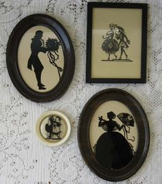 Vintage Silhouette Romantic Victorian Framed Pictures