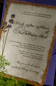 DIY Rustic Burlap and Lavender Wedding Invitation - Rustic Barn Woodland Wedding. $4.25, via Etsy.