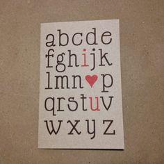 Tarjeta para San Valentín: Abecedario (I love you)