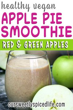 Healthy Vegan Apple Pie Smoothie - Make this creamy red & green apple smoothie healthy breakfast today! Date sweetened & with protein from pecans, this easy apple pie smoothie healthy almond milk recipe is a dairy free, vegan, plant based, raw food breakfast! We love this vitamix apple pie smoothie with cloves, cinnamon, & nutmeg like a spiced apple recipe. Best apple smoothie healthy breakfast. Red apple recipe easy. Green apple recipe healthy. #applepie #smoothie #vegansmoothie #plantbased