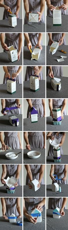 DIY Concrete And Cement Projects... How to make a cement house with a milk carton!! It will be fun to paint when it's dry... Hello fairy garden!!