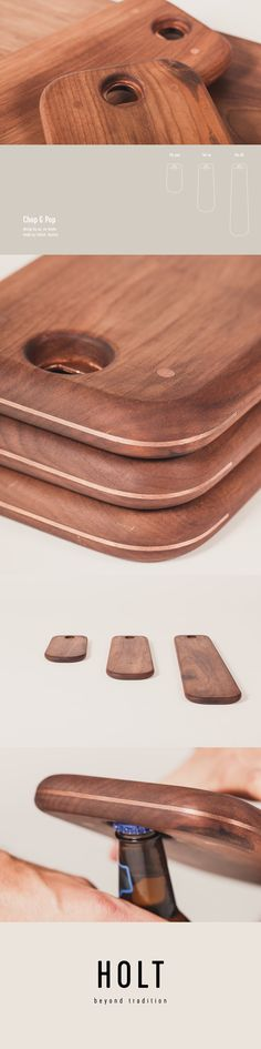 """Chop & Pop is a wooden serving board with a copper inlay for hanging and opening bottles. Chop & Pop comes in 3 sizes, perfect for displaying cheese, fruits and for Austrian """"Brettljausn"""" Cutting board handmade in Austria by Fellner - Design by united everything Serving Board, Pop, Austria, Cutting Board, Bottles, Copper, The Unit, Cheese, Traditional"""