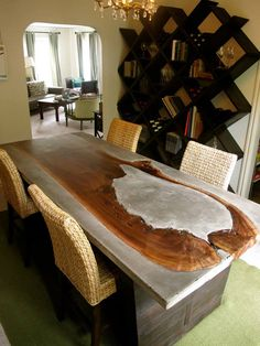 wood concrete table