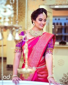 Pink silk saree is a must have in every women's wardrobe. Thus, let's have a look at beautiful blouse designs for pink color silk saree Bridal Sarees South Indian, Bridal Silk Saree, Saree Wedding, Silk Sarees, Wedding Blouses, South Indian Bride, Saris, Indian Sarees, Wedding Bride