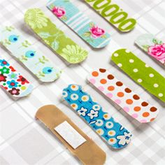Embellish your Band-Aids with scraps of fabric. The kids will love it! (in Swedish and English)